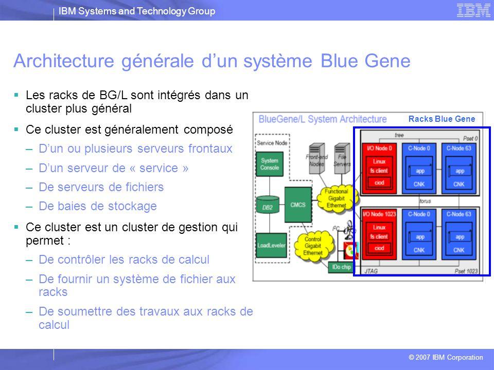 IBM Systems and Technology Group © 2007 IBM Corporation Les éléments d'un système Blue Gene Blue Gene Rack(s) Hardware/Software Host System Service Node and Front End Nodes SuSE SLES9/10, HPC SW Stack, File Servers, Storage Subsystem, XLF/C Compilers, DB2
