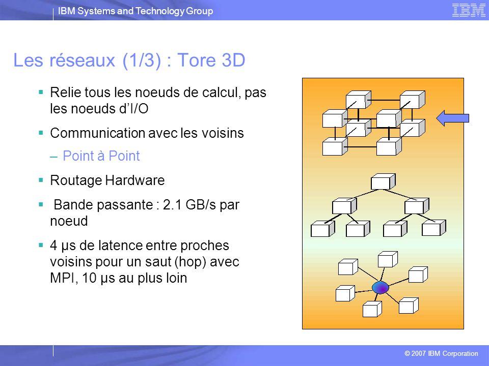 IBM Systems and Technology Group © 2007 IBM Corporation Nœud de base du BG/L  1 nœud de base = 1 chip + 1 GB de mémoire ( BG/P: 2 ou 4 GB)  2 CPU par nœud (BG/P: 4 CPU)  Chaque CPU possède une unité SIMD ( 2 FMA/cycle)  2 types de nœud : I/O et calcul (ratio de 1:16 à 1:128 selon config), diffèrent par l'OS tourné  Réseaux intégrés  Pas de pagination  Kernel de calcul simplifié pour les nœuds de calcul et Linux pour les nœuds I/O  Pas de SMP ni cohérence de cache, 1 processus/ processeur (BG/P: le nœud de base dispose d'une cohérence mémoire SMP)