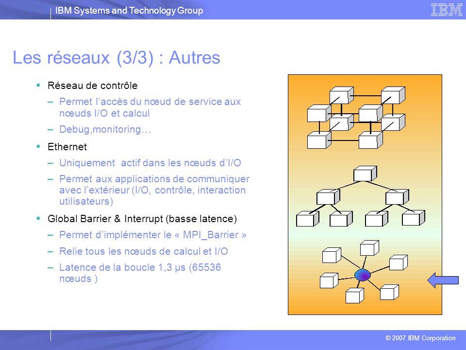 IBM Systems and Technology Group © 2007 IBM Corporation Les réseaux (2/3) : Global Tree (Arbre)  Relie les noeuds de calcul aux noeuds I/O  Dorsale