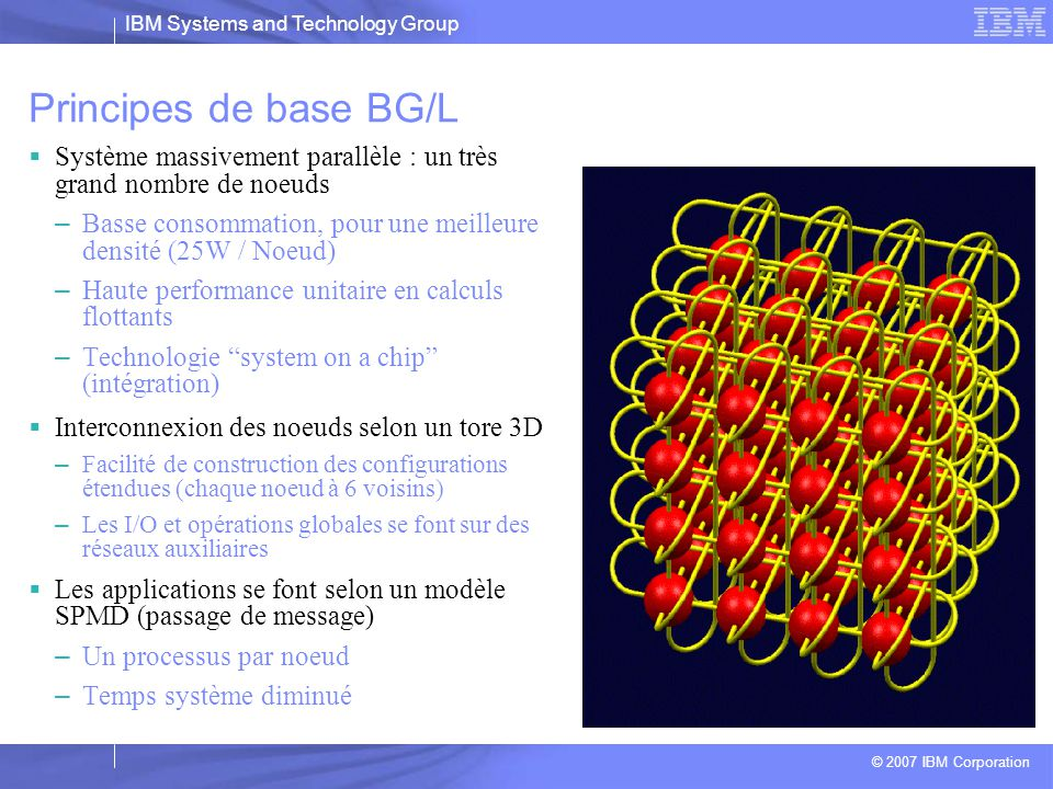 IBM Systems and Technology Group © 2007 IBM Corporation La ligne de produits BlueGene: 20042010 2007 Blue Gene/P PPC 450 @ 850MHz 3+ PF Blue Gene/Q Power Multi-Core 20+ PF Blue Gene/L PPC 440 @ 700MHz 360+ TF