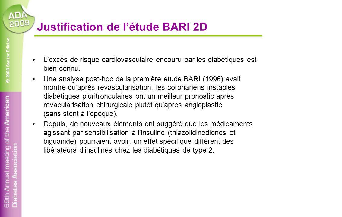 © 2009 Santor Edition Justification de l'étude BARI 2D L'excès de risque cardiovasculaire encouru par les diabétiques est bien connu. Une analyse post