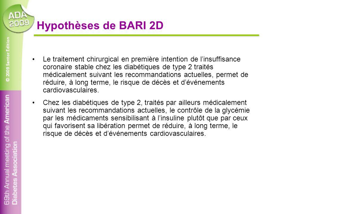 © 2009 Santor Edition Hypothèses de BARI 2D Le traitement chirurgical en première intention de l'insuffisance coronaire stable chez les diabétiques de