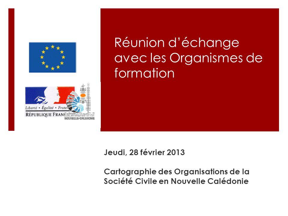 Réunion d'échange avec les Organismes de formation Jeudi, 28 février 2013 Cartographie des Organisations de la Société Civile en Nouvelle Calédonie