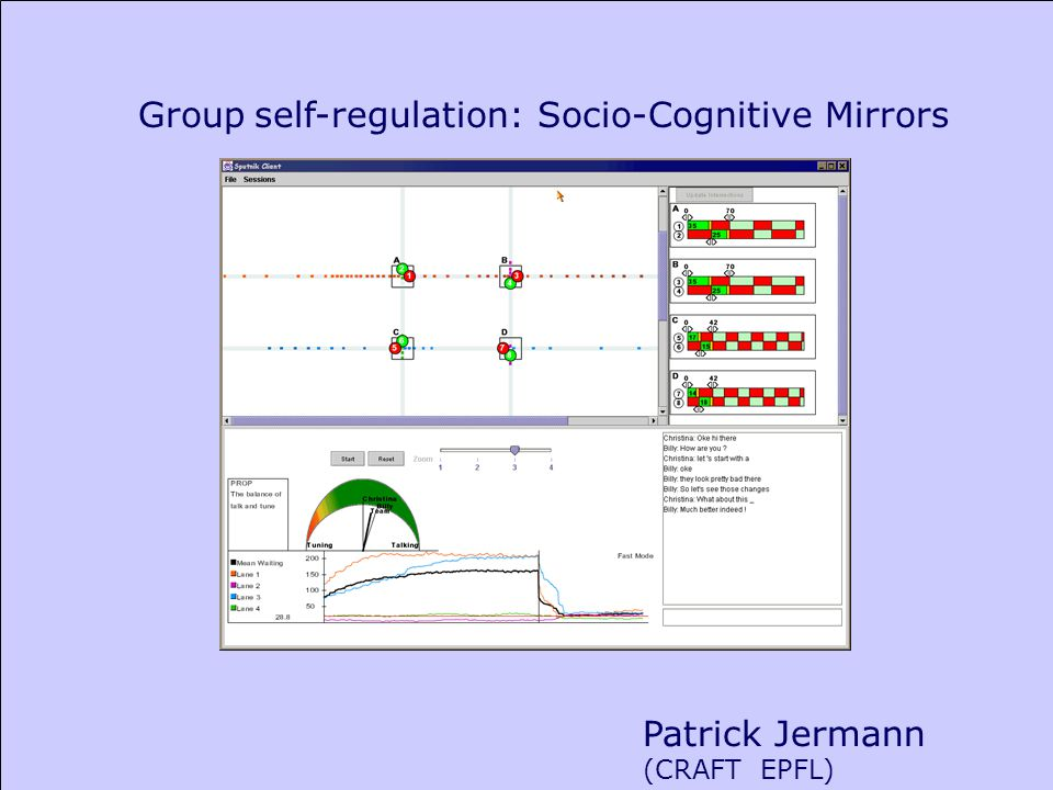 Patrick Jermann (CRAFT EPFL) Group self-regulation: Socio-Cognitive Mirrors
