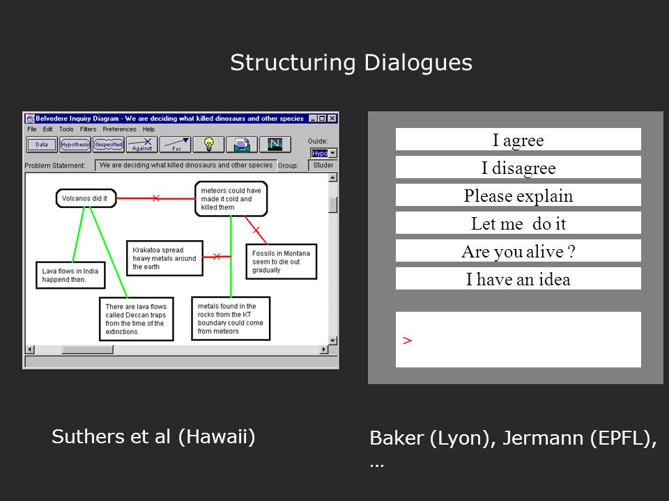 Structuring Dialogues Suthers et al (Hawaii) I agree I disagree Please explain Let me do it Are you alive .