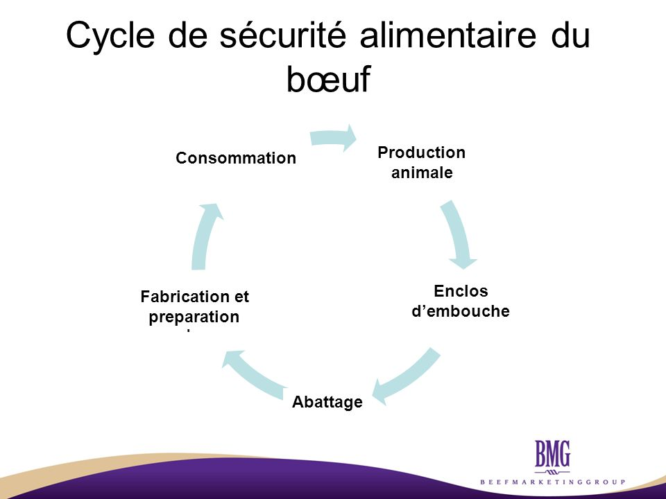 Cycle de sécurité alimentaire du bœuf Animal Production Feedlots Slaughter Processing and Preparation Consumption Enclos d'embouche Abattage Consommation Fabrication et preparation Production animale