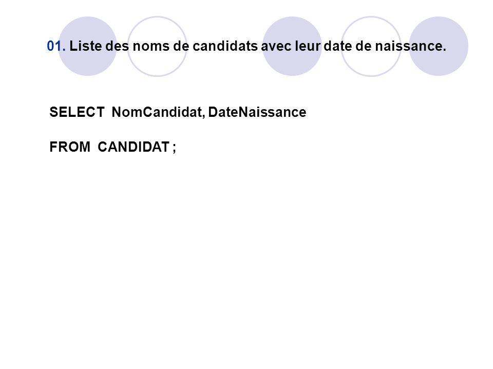 01. Liste des noms de candidats avec leur date de naissance. SELECT NomCandidat, DateNaissance FROM CANDIDAT ;