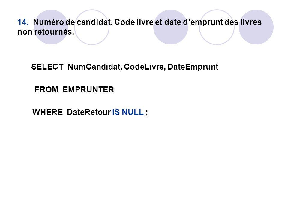 14. Numéro de candidat, Code livre et date d'emprunt des livres non retournés. SELECT NumCandidat, CodeLivre, DateEmprunt FROM EMPRUNTER WHERE DateRet