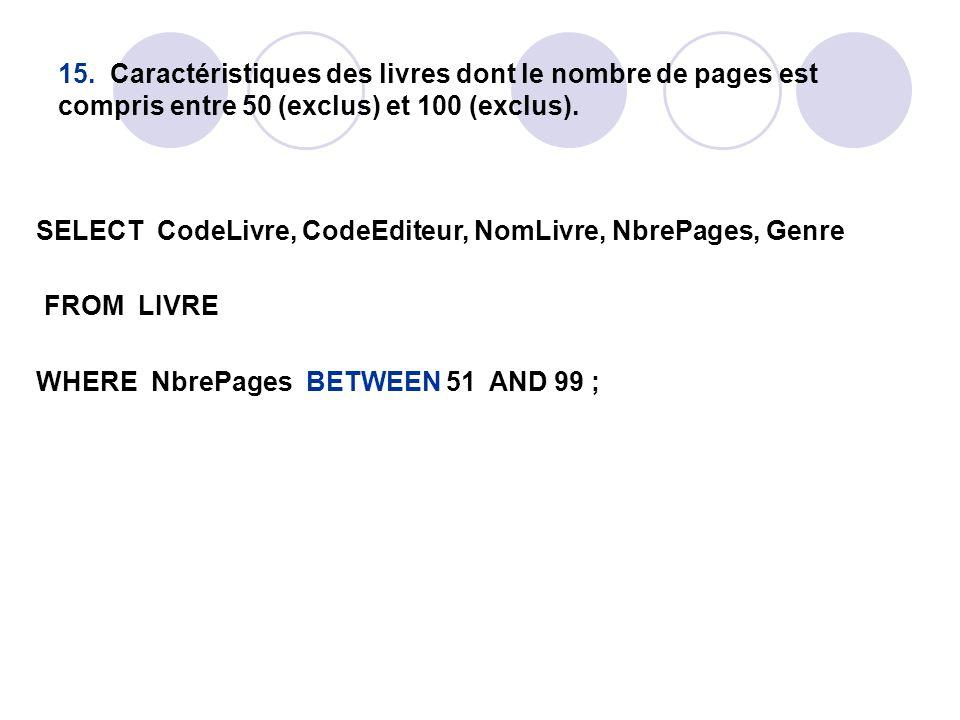 15. Caractéristiques des livres dont le nombre de pages est compris entre 50 (exclus) et 100 (exclus). SELECT CodeLivre, CodeEditeur, NomLivre, NbrePa