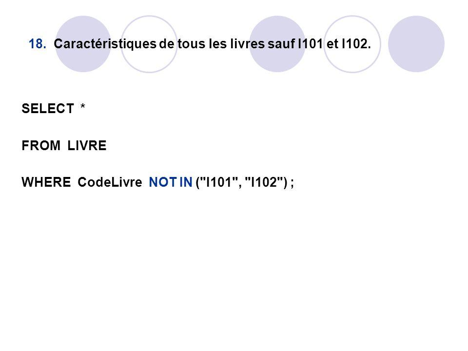 18. Caractéristiques de tous les livres sauf I101 et I102. SELECT * FROM LIVRE WHERE CodeLivre NOT IN (