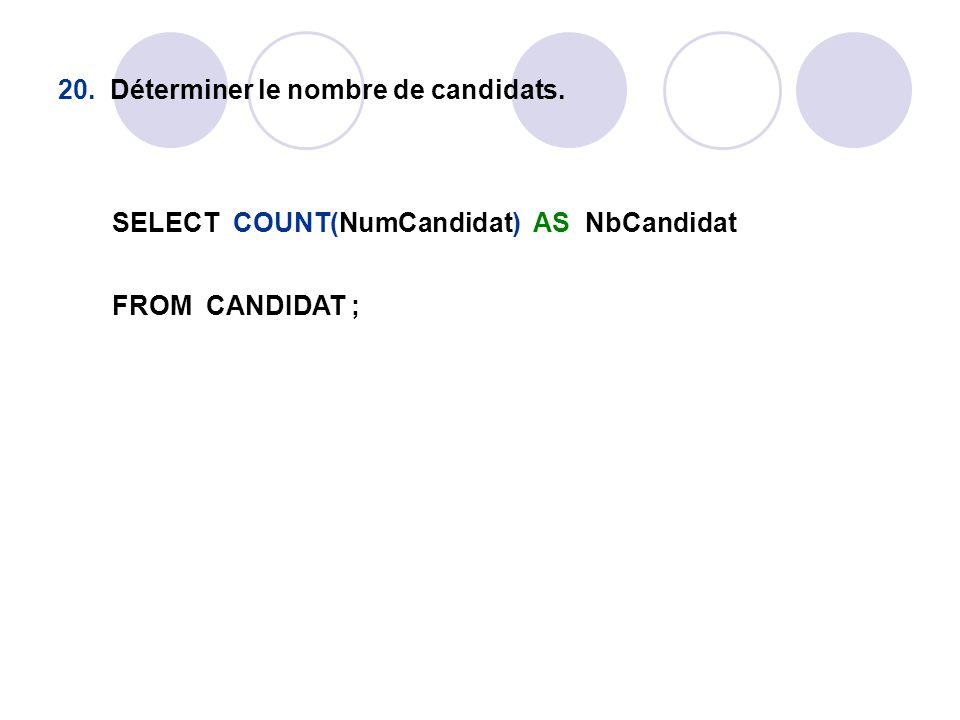20. Déterminer le nombre de candidats. SELECT COUNT(NumCandidat) AS NbCandidat FROM CANDIDAT ;