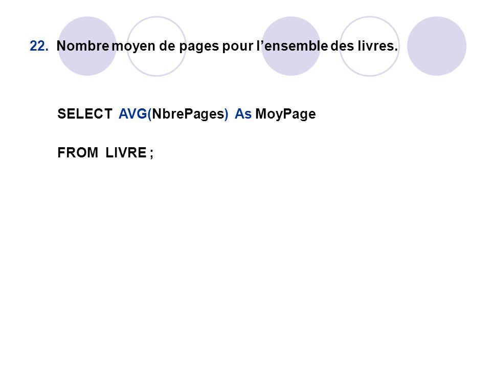 22. Nombre moyen de pages pour l'ensemble des livres. SELECT AVG(NbrePages) As MoyPage FROM LIVRE ;