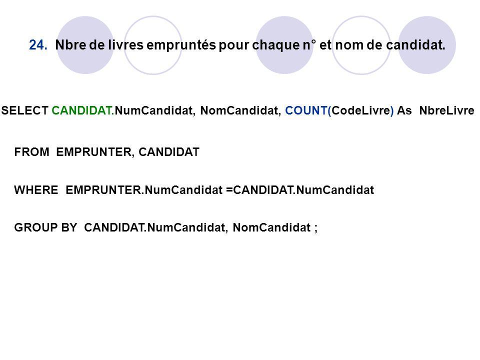 24. Nbre de livres empruntés pour chaque n° et nom de candidat. SELECT CANDIDAT.NumCandidat, NomCandidat, COUNT(CodeLivre) As NbreLivre FROM EMPRUNTER
