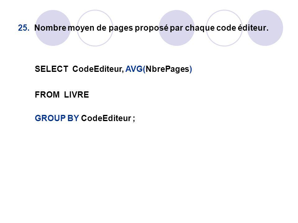 25. Nombre moyen de pages proposé par chaque code éditeur. SELECT CodeEditeur, AVG(NbrePages) FROM LIVRE GROUP BY CodeEditeur ;