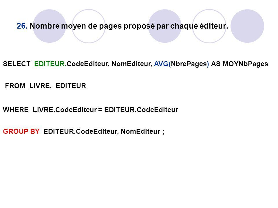 26. Nombre moyen de pages proposé par chaque éditeur. SELECT EDITEUR.CodeEditeur, NomEditeur, AVG(NbrePages) AS MOYNbPages FROM LIVRE, EDITEUR WHERE L