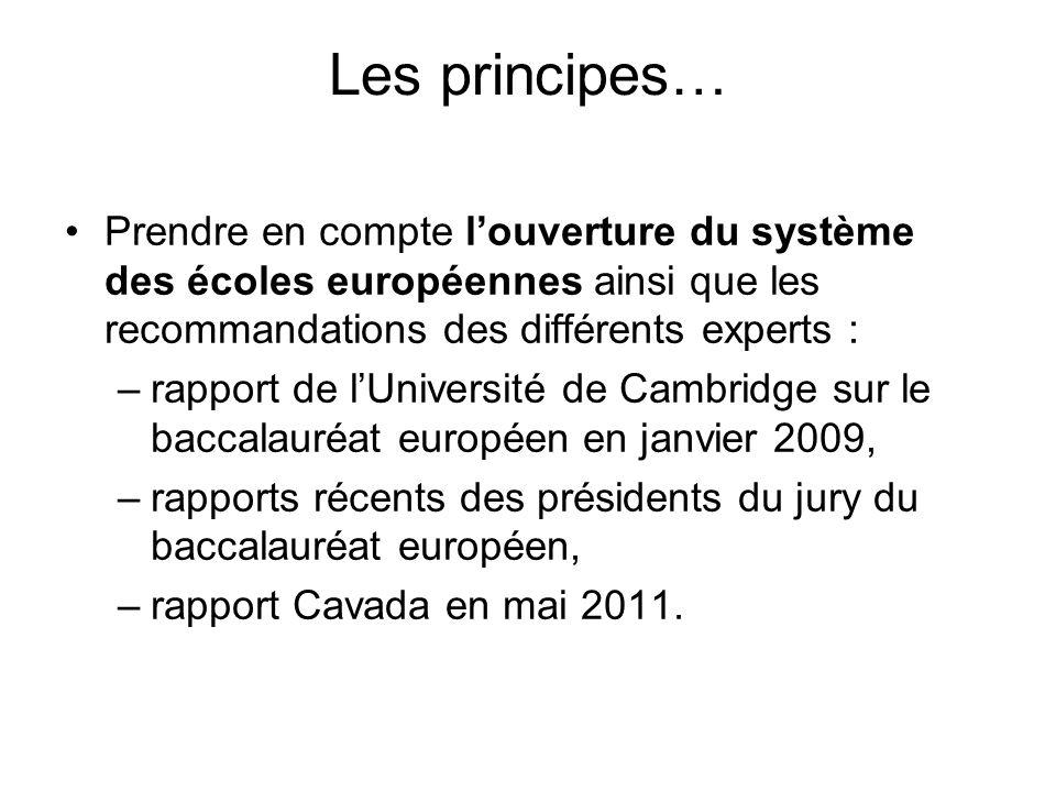 Les principes… Prendre en compte l'ouverture du système des écoles européennes ainsi que les recommandations des différents experts : –rapport de l'Université de Cambridge sur le baccalauréat européen en janvier 2009, –rapports récents des présidents du jury du baccalauréat européen, –rapport Cavada en mai 2011.