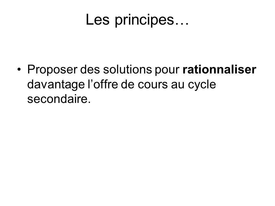 Les principes… Proposer des solutions pour rationnaliser davantage l'offre de cours au cycle secondaire.