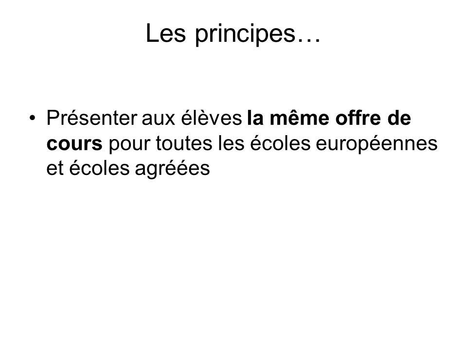 Les principes… Présenter aux élèves la même offre de cours pour toutes les écoles européennes et écoles agréées