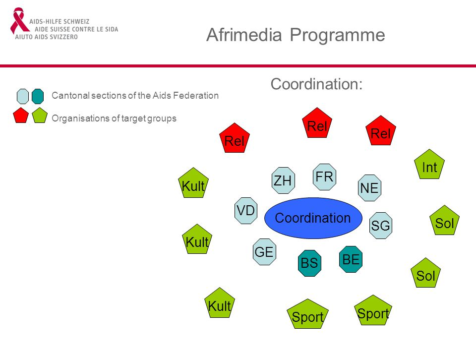 Afrimedia Programme Coordination: Coordination GE BS BE SG NE FR ZH VD Kult Rel Int Sol Sport Kult BS Cantonal sections of the Aids Federation Organisations of target groups