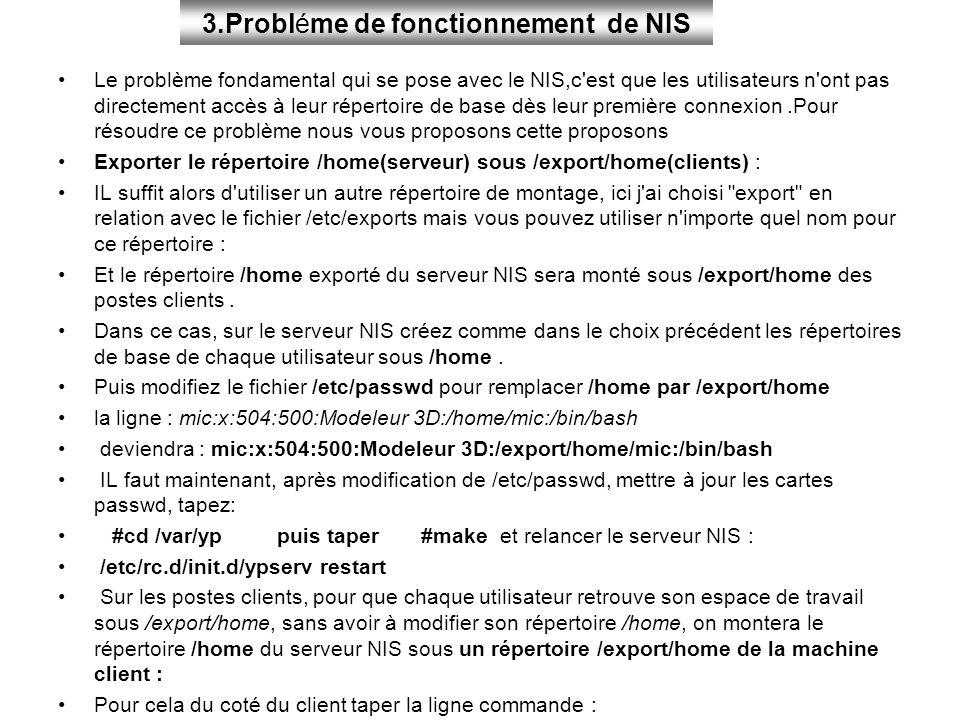 Le problème fondamental qui se pose avec le NIS,c'est que les utilisateurs n'ont pas directement accès à leur répertoire de base dès leur première con