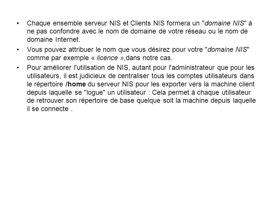 Chaque ensemble serveur NIS et Clients NIS formera un