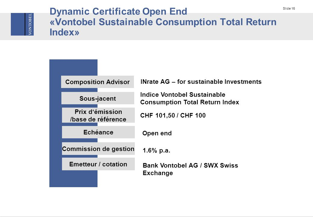 Slide 15 Dynamic Certificate Open End «Vontobel Sustainable Consumption Total Return Index» Sous-jacent Prix d'émission /base de référence Indice Vontobel Sustainable Consumption Total Return Index CHF 101,50 / CHF 100 Echéance Open end Commission de gestion 1.6% p.a.