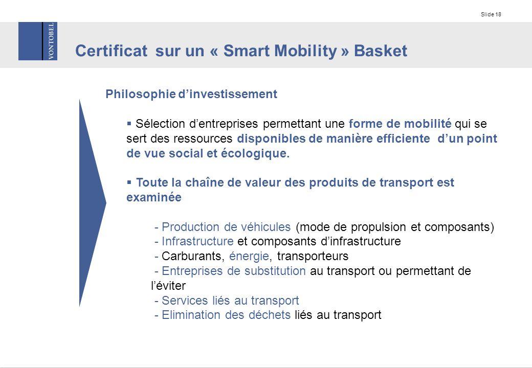 Slide 18 Philosophie d'investissement  Sélection d'entreprises permettant une forme de mobilité qui se sert des ressources disponibles de manière efficiente d'un point de vue social et écologique.