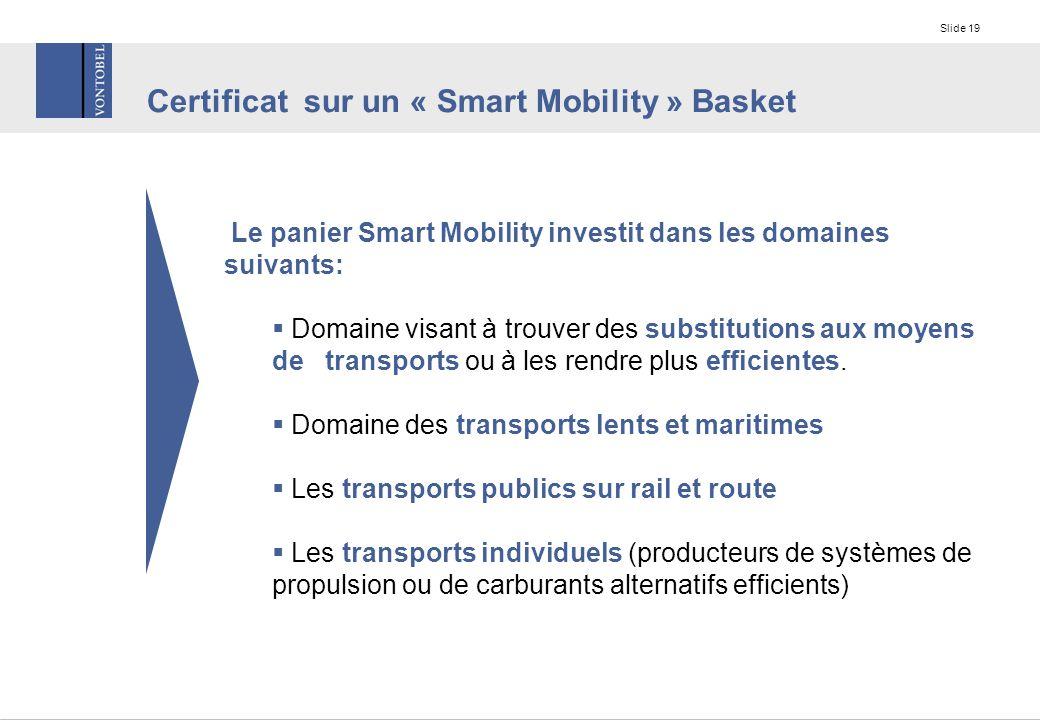 Slide 19 Le panier Smart Mobility investit dans les domaines suivants:  Domaine visant à trouver des substitutions aux moyens de transports ou à les rendre plus efficientes.