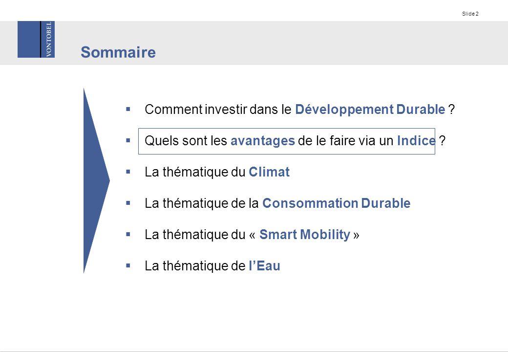 Slide 2 Sommaire  Comment investir dans le Développement Durable .