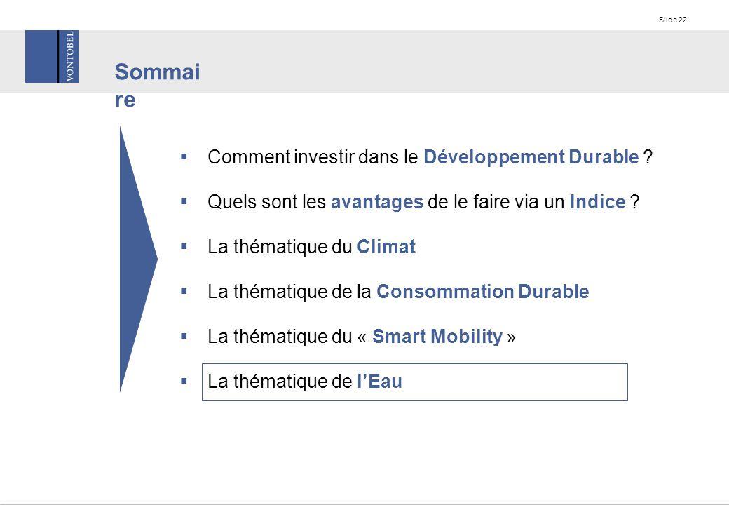 Slide 22  Comment investir dans le Développement Durable .