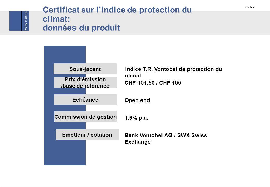 Slide 9 Certificat sur l'indice de protection du climat: données du produit Sous-jacent Prix d'émission /base de référence Indice T.R.