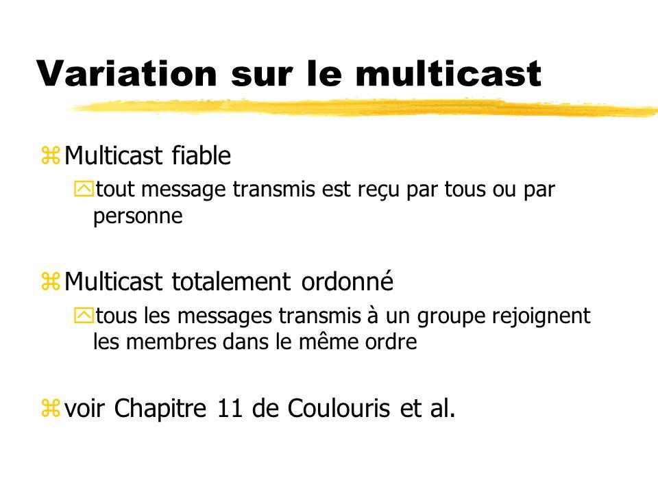 Variation sur le multicast zMulticast fiable ytout message transmis est reçu par tous ou par personne zMulticast totalement ordonné ytous les messages transmis à un groupe rejoignent les membres dans le même ordre zvoir Chapitre 11 de Coulouris et al.