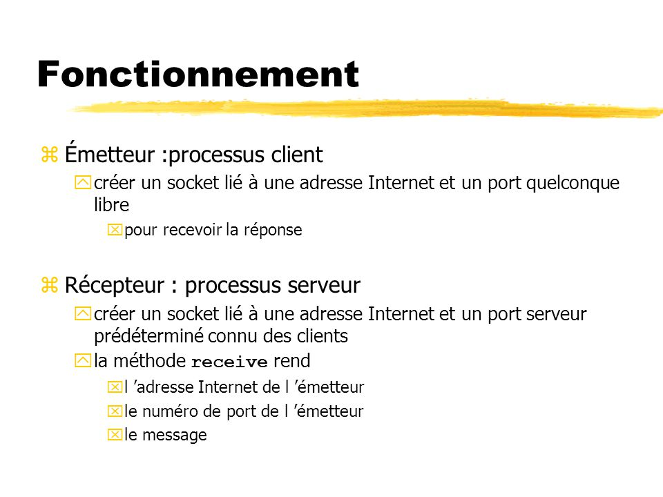 Communication par datagrammes exemple simple : le serveur import java.net.*; import java.io.*; // UDP server repeatedly receives a request and sends it back to the client public class UDPServer { public static void main(String args[]){ DatagramSocket aSocket = null; try{ aSocket = new DatagramSocket(6789); // port convenu avec les clients byte[] buffer = new byte[1000]; while(true){ DatagramPacket request = new DatagramPacket(buffer, buffer.length); aSocket.receive(request); // réception bloquante DatagramPacket reply = new DatagramPacket( request.getData(), request.getLength(), request.getAddress(), request.getPort()); aSocket.send(reply); // émission non-bloquante } }catch (SocketException e){System.out.println( Socket: + e.getMessage()); }catch (IOException e) {System.out.println( IO: + e.getMessage());} } finally {if(aSocket != null) aSocket.close();} }}