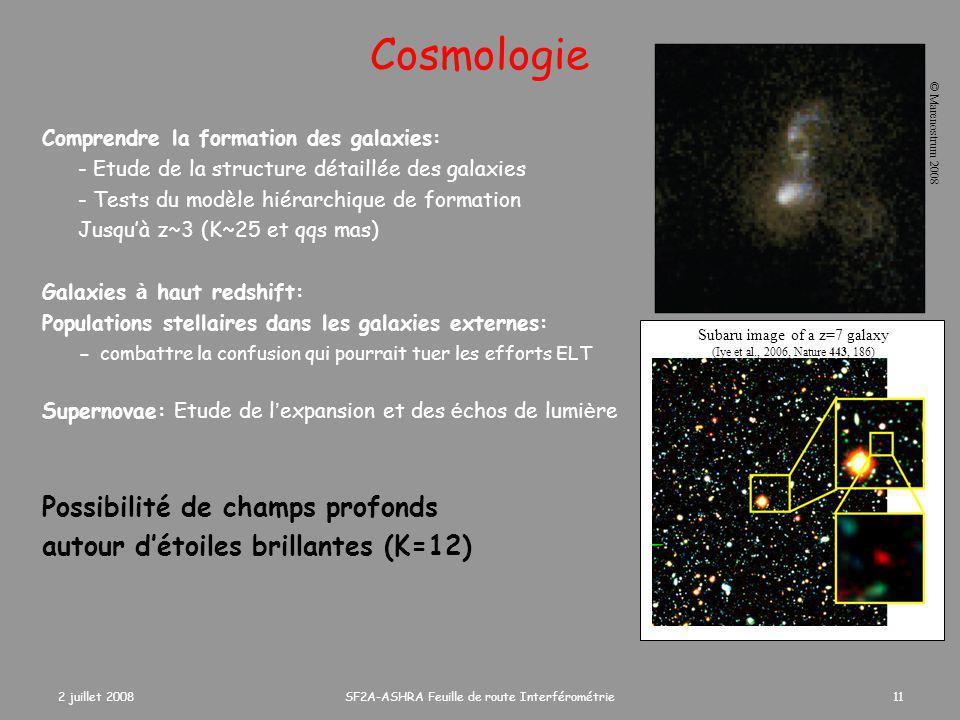 2 juillet 2008SF2A-ASHRA Feuille de route Interférométrie11 Cosmologie Comprendre la formation des galaxies: - Etude de la structure détaillée des galaxies - Tests du modèle hiérarchique de formation Jusqu'à z~3 (K~25 et qqs mas) Galaxies à haut redshift: Populations stellaires dans les galaxies externes: - combattre la confusion qui pourrait tuer les efforts ELT Supernovae: Etude de l ' expansion et des é chos de lumi è re Possibilité de champs profonds autour d'étoiles brillantes (K=12) Subaru image of a z=7 galaxy (Iye et al., 2006, Nature 443, 186) © Marenostrum 2008