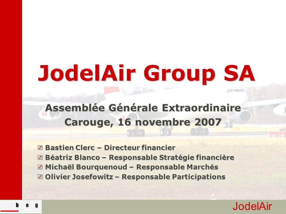 JodelAir JodelAir Group SA Assemblée Générale Extraordinaire Carouge, 16 novembre 2007 Bastien Clerc – Directeur financier Bastien Clerc – Directeur f