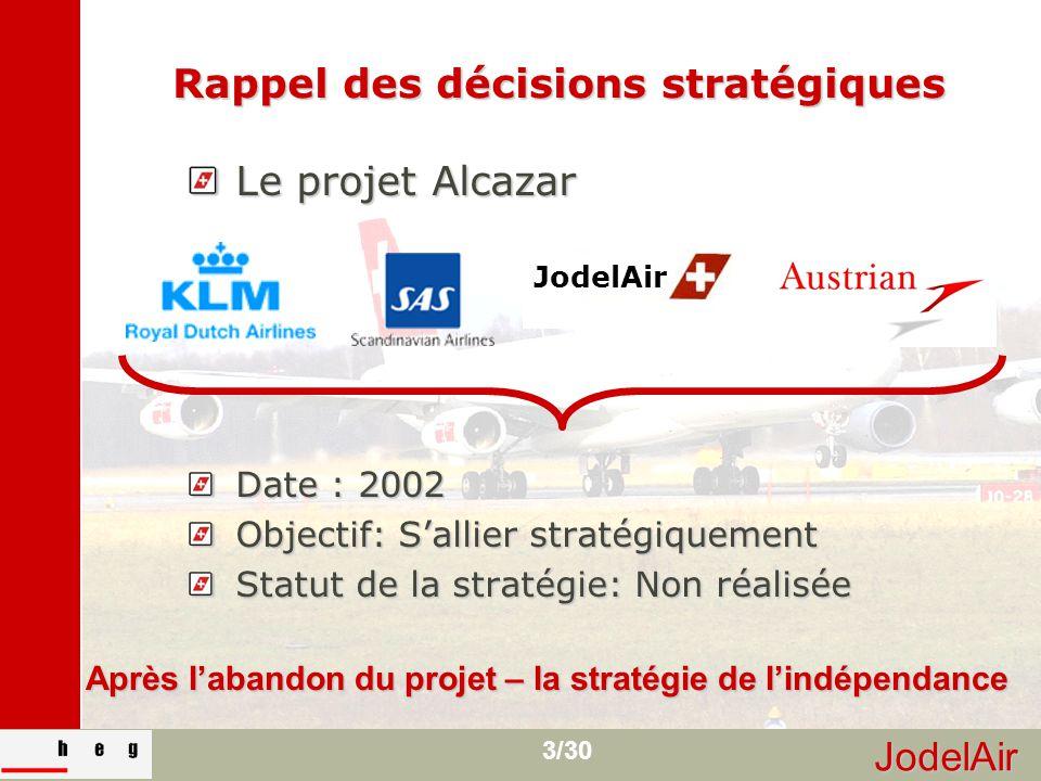 JodelAir 3/30 Rappel des décisions stratégiques Le projet Alcazar Date : 2002 Objectif: S'allier stratégiquement Statut de la stratégie: Non réalisée