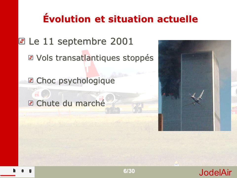 JodelAir 6/30 Évolution et situation actuelle Le 11 septembre 2001 Le 11 septembre 2001 Vols transatlantiques stoppés Vols transatlantiques stoppés Ch