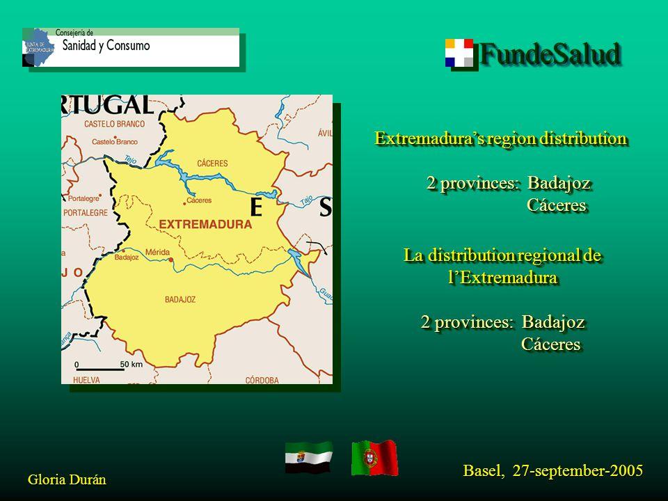 FundeSaludFundeSalud Basel, 27-september-2005 Gloria Durán Extremadura region: 41602 Km 2 surface 1,200.000 inhabitants 25,7 hab/ km 2 Extremadura region: 41602 Km 2 surface 1,200.000 inhabitants 25,7 hab/ km 2 La region d'Extremadura: 41602 Km 2 surface 1,100.000 habitants 25,7 hab/ km 2 La region d'Extremadura: 41602 Km 2 surface 1,100.000 habitants 25,7 hab/ km 2