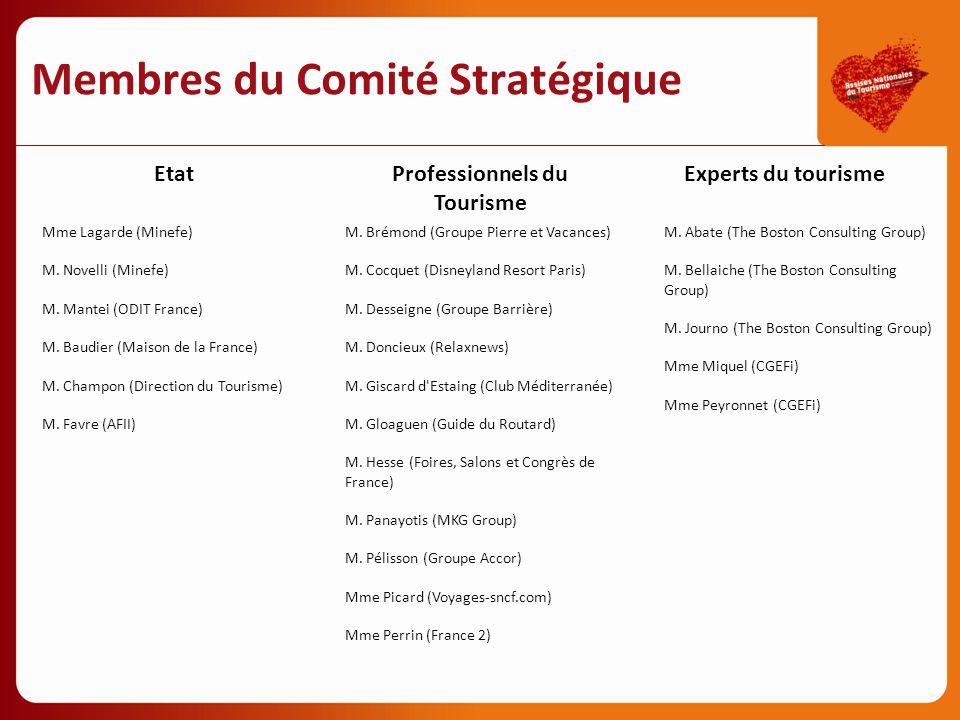 Membres du Comité Stratégique Etat Mme Lagarde (Minefe) M. Novelli (Minefe) M. Mantei (ODIT France) M. Baudier (Maison de la France) M. Champon (Direc
