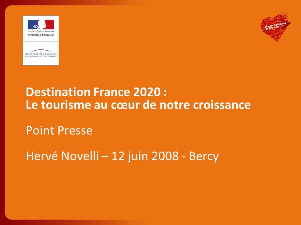 Part du tourisme dans le PIB de la France Nombre d emplois (direct et indirect) 6,3% Aujourd hui 6,5% 2020 au fil de l'eau 7,6% Objectif 2020Aujourd hui2020 au fil de l'eau Objectif 2020 Indirect Direct 1.8 M +300k +600k Des enjeux significatifs