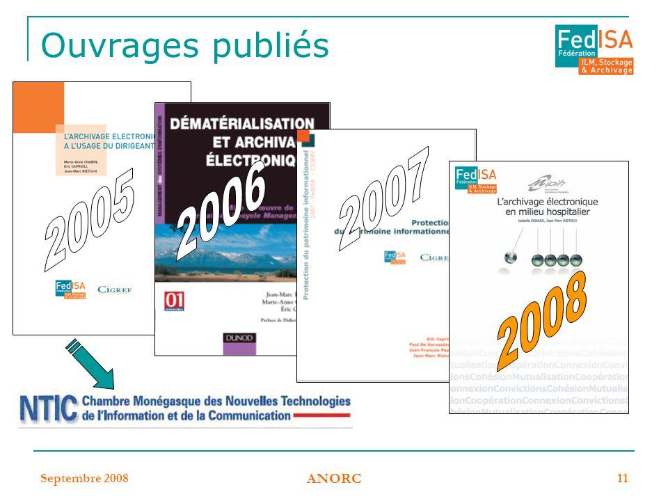 Septembre 2008 ANORC 11 Ouvrages publiés