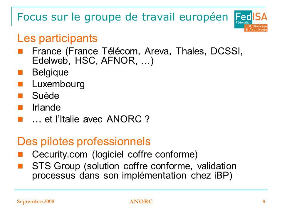 Septembre 2008 ANORC 8 Focus sur le groupe de travail européen Les participants France (France Télécom, Areva, Thales, DCSSI, Edelweb, HSC, AFNOR, …)