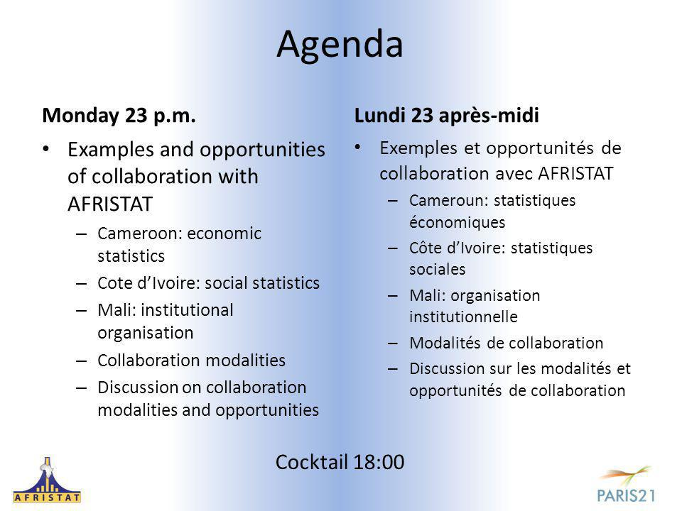 Agenda Monday 23 p.m. Examples and opportunities of collaboration with AFRISTAT – Cameroon: economic statistics – Cote d'Ivoire: social statistics – M