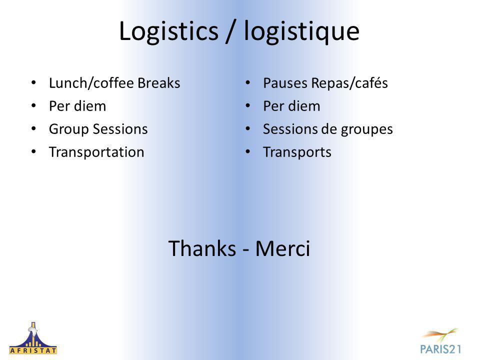 Logistics / logistique Lunch/coffee Breaks Per diem Group Sessions Transportation Pauses Repas/cafés Per diem Sessions de groupes Transports Thanks - Merci