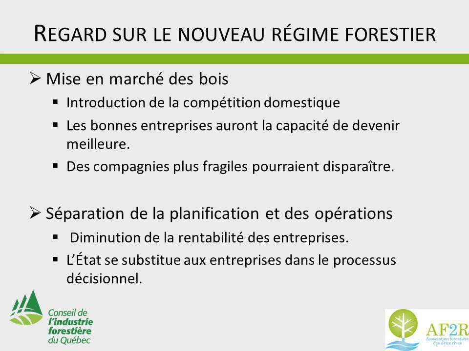 R EGARD SUR LE NOUVEAU RÉGIME FORESTIER  Mise en marché des bois  Introduction de la compétition domestique  Les bonnes entreprises auront la capacité de devenir meilleure.