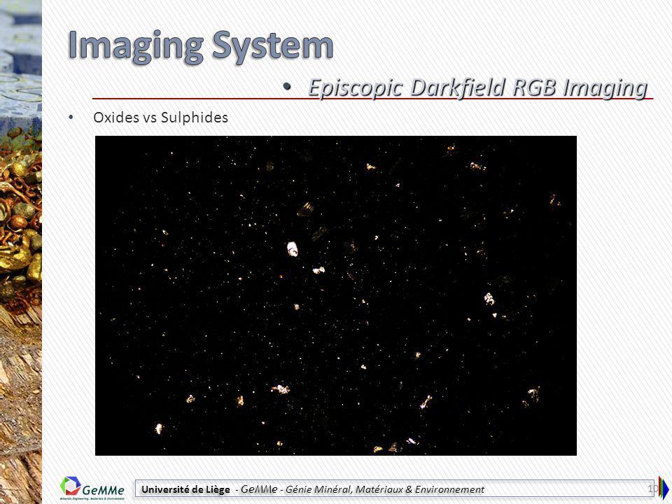 Université de Liège - GeMMe - Génie Minéral, Matériaux & Environnement Oxides vs Sulphides Episcopic Darkfield RGB Imaging Episcopic Darkfield RGB Imaging 10