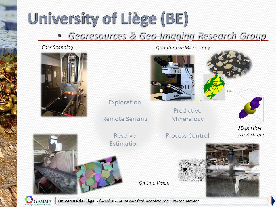 Université de Liège - GeMMe - Génie Minéral, Matériaux & Environnement Predictive Mineralogy Process Control Exploration Remote Sensing Reserve Estimation Georesources & Geo-Imaging Research Group Georesources & Geo-Imaging Research Group © CSIRO Quantitative Microscopy On Line Vision Core Scanning 3D particle size & shape