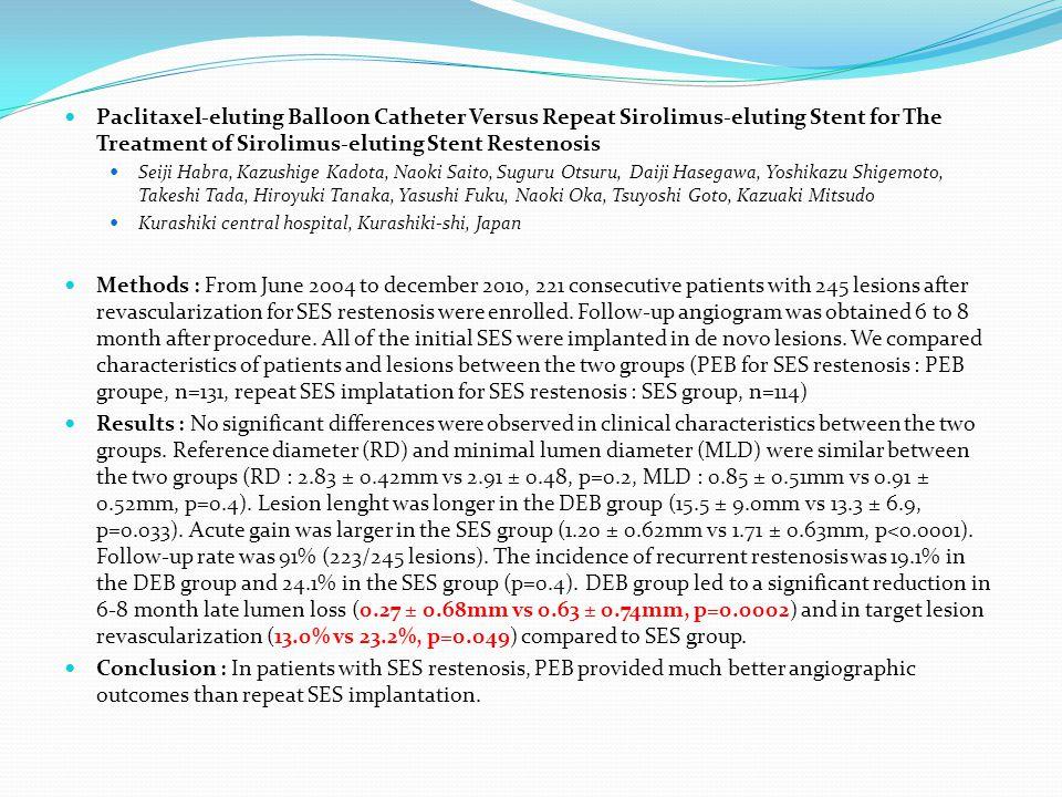 Paclitaxel-eluting Balloon Catheter Versus Repeat Sirolimus-eluting Stent for The Treatment of Sirolimus-eluting Stent Restenosis Seiji Habra, Kazushige Kadota, Naoki Saito, Suguru Otsuru, Daiji Hasegawa, Yoshikazu Shigemoto, Takeshi Tada, Hiroyuki Tanaka, Yasushi Fuku, Naoki Oka, Tsuyoshi Goto, Kazuaki Mitsudo Kurashiki central hospital, Kurashiki-shi, Japan Methods : From June 2004 to december 2010, 221 consecutive patients with 245 lesions after revascularization for SES restenosis were enrolled.