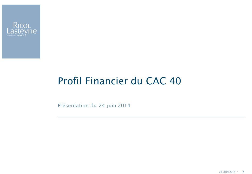 Présentation du 24 juin 2014 Profil Financier du CAC 40 24 JUIN 20141