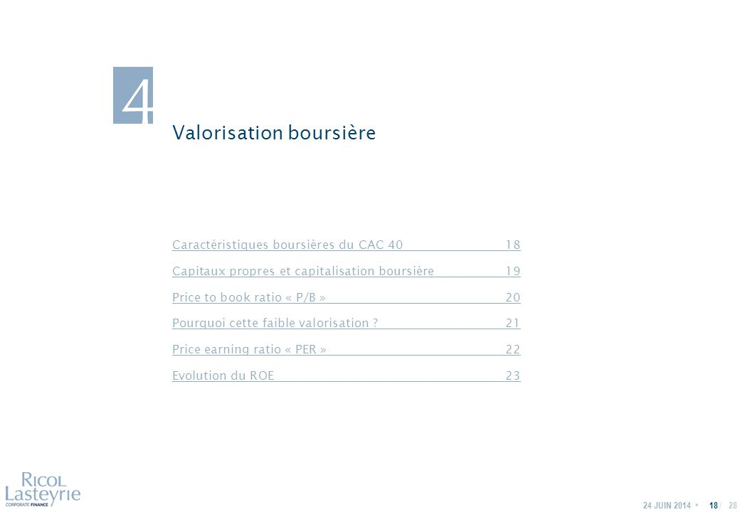 / Valorisation boursière 24 JUIN 201418 Caractéristiques boursières du CAC 4018 Capitaux propres et capitalisation boursière19 Price to book ratio « P/B »20 Pourquoi cette faible valorisation 21 Price earning ratio « PER »22 Evolution du ROE 23 28